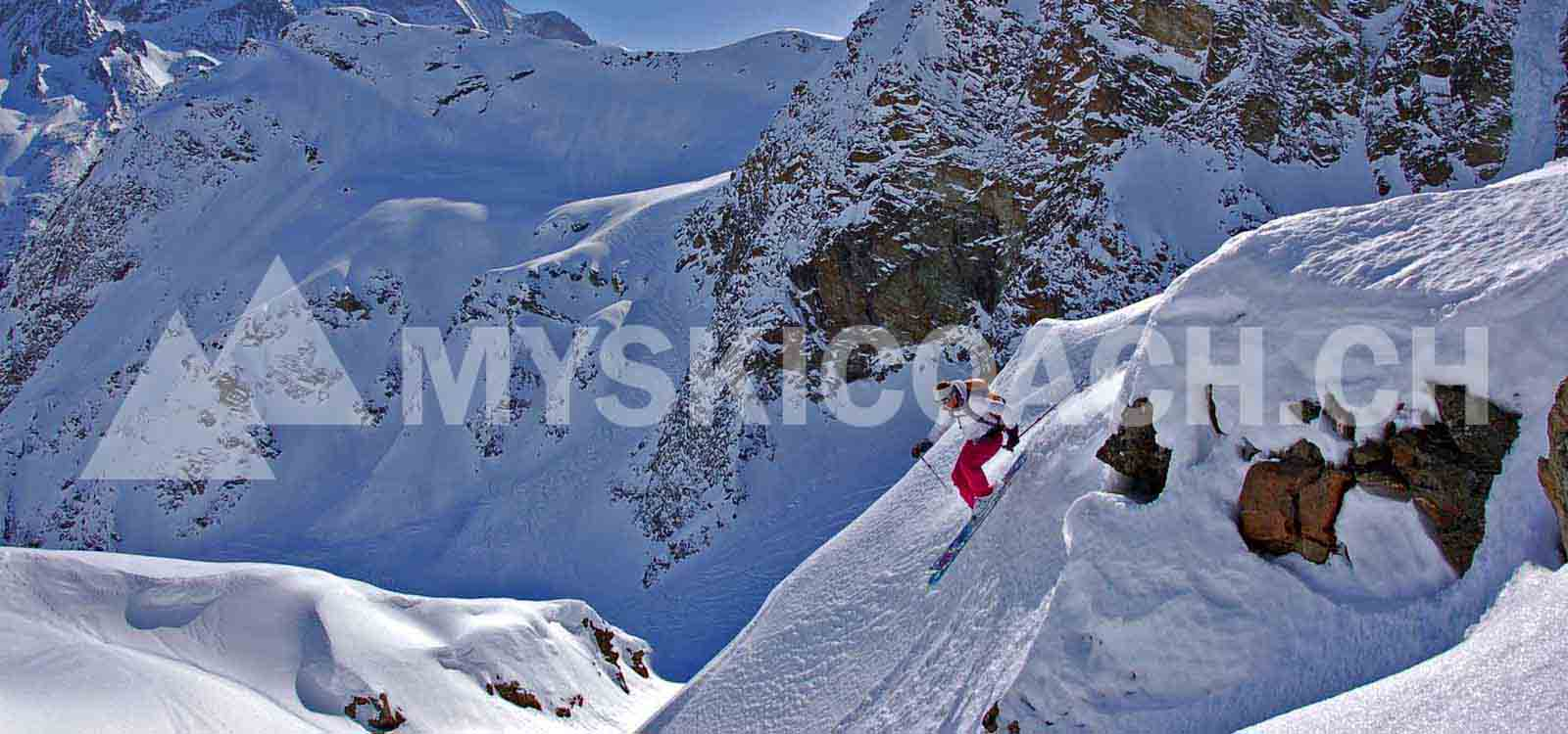 Off piste advanced private ski lessons for adults - Freeride ski coaching